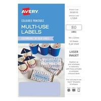 Avery Home Labels L7264 Sky Blue Label 8Up 32X94mm A5 10/Pk