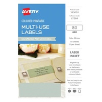Avery Home Labels L7264 Mint Green Label 8Up 32X94mm A5 10/Pk