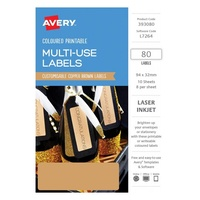 Avery Home Labels L7264 Copper Label 8Up 32X94mm A5 10/Pk