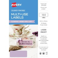 Avery Home Labels L7261 Lavender Label 16Up 63.5X24mm A5 10/Pk
