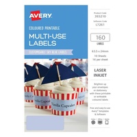 Avery Home Labels L7261 Sky Blue Label 16Up 63.5X24mm A5 10/Pk