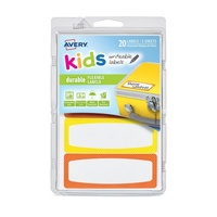Avery Kids Writeable Labels Flexible Rectangular Dots Border Durable 4Up 89X32mm 20Pk