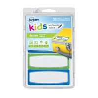 Avery Kids Writeable Labels Flexible Rectangular Lines Border Durable 4Up 89X32mm 20Pk