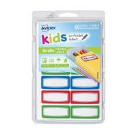 Avery Kids Writeable Labels Flexible Rectangular Lines Border Durable 12Up 44X19mm 60Pk
