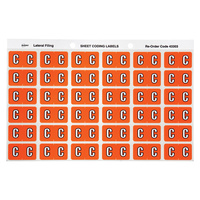 Avery Alphabet Coding Label C Side Tab 25X38mm Orange