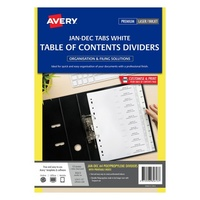 Avery L7411 12 Dividers PP A4 Jan Dec Index Tabs White