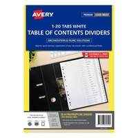 Avery L7411 20 Dividers PP A4 1 20 Index Tabs White