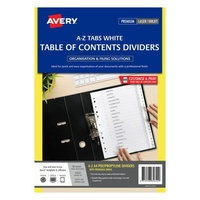 Avery L7411 Az Dividers PP A4 A Z Index Tabs White