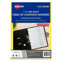 Avery L7411 31 Dividers PP A4 1 31 Index Tabs White