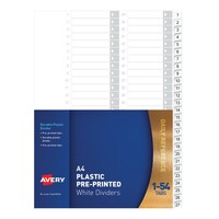 Avery Dividers PP A4 1 54 Index Tabs White