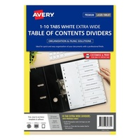 Avery L7411 10 Dividers PP A4 Xtra Wide 1 10 Index White