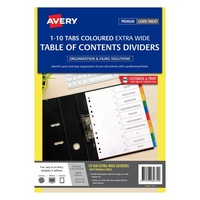 Avery L7411 10 Dividers PP A4 Xtra Wide White with 10 Coloured Tabs