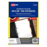 Avery Mylar Tab Dividers A4 Jan Dec White Flouro Tabs