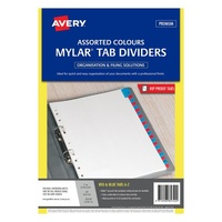 Avery Mylar Tab Dividers A4 A Z White Blue Red Tabs