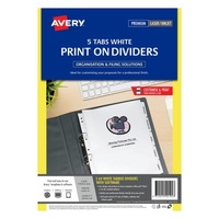 Avery L7420 5 Divider Print On Laser 5 Tab 4Sets White