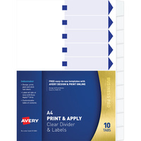 Avery L7452 10 Indexmaker Label A4 10 Tabs Punched White