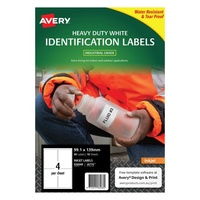 Avery J4774 DuraBLe Labels Inkjet Heavy Duty 4 Sheet 99.1X139 White