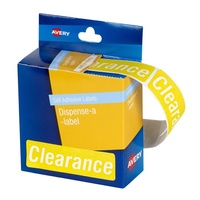 Avery Dispenser Labels Printed Clearance Yellow 19X64mm 500Bx