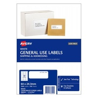 Avery L7157 Laser Inkjet Label Copier 33 Sheet 64X24 3mm White