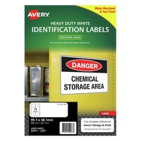 Avery L7063 Durable Heavy Duty Label Laser 14 Sheet 99.1X38.1mm White