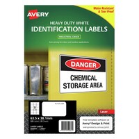 Avery L7060 Durable Heavy Duty Label Laser 21 Sheet 63.5X38.1mm White