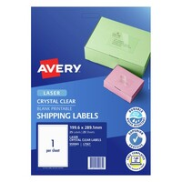 Avery L7567 Clear Laser Labels Quick Peel 1 Sheet 199.6X289 1mm