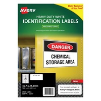 Avery L6113 Durable Label Heavy Duty Laser 48 Sheet 45 7X21.2 White