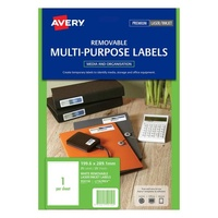 Avery L7167Rev Laser Labels Removable 1 Sheet 199.6X289 1mm
