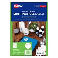 Avery Round Laser Inkjet Labels 24 Sheet 40mm Diam Clear