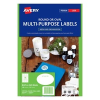 Avery Oval Laser Inkjet Labels 18 Sheet 63.5X42.3mm Diam Clear