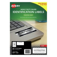 Avery L6009 Durable Heavy Duty Label Laser 48 Sheet 45 7X21 Silver Metallic