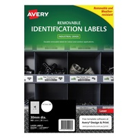 Avery L4716REV Durable Label Heavy Duty Removable Laser 48 Sheet 30mm Dia White 20pk