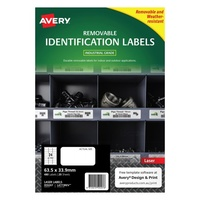 Avery L4773REV Durable Label Heavy Duty Removable Laser 24 Sheet 63.5x33.92 White 20pk