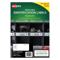 Avery L4776REV Durable Label Heavy Duty Removable Laser 12 Sheet 99.1x42.3 White 20pk