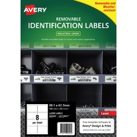 Avery L4715REV Durable Label Heavy Duty Removable Laser 8 Sheet 99.1x67.7 White 20pk