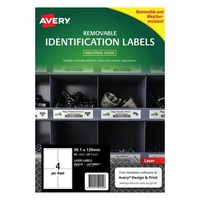 Avery L4774REV Durable Label Heavy Duty Removable Laser 4 Sheet 99.1x139 White 20pk