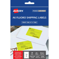 Avery A6 Shipping Labels L7175FY 1Up 105X148mm Fluoro Yellow 20Pk