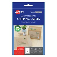 Avery A6 Shipping Labels L7185 1Up 105X148mm Kraft 20Pk