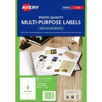Avery L7765 Colour Laser Label 8 Sheet 99.1X67.7mm Glossy White