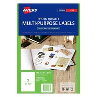 Avery L7768 Colour Laser Label 2 Sheet 199.6X143.5mm Glossy White