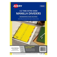 Avery Colour Manilla Dividers A4 A Z Index Bright