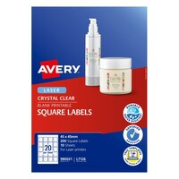 Avery Crystal Clear Square Product Labels L7126 200Pk 45X45mm