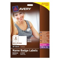 Avery Fabric Name Badge Label L7418 White 80Pk 86.5X55.5mm