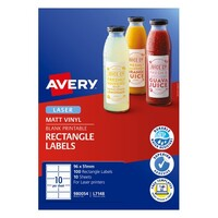 Avery Durable Printable Glossy Wraparound Labels L7148 10Up 96X51mm 100Pk White