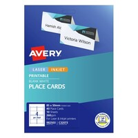 Avery Folded Placecards C32073 (Inkjet/Laser) 4Up 85X50mm White 40Pk