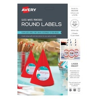Avery Celebrations & Events Labels L7270 Gloss Round 12Up 60mm Dia 5Pk