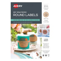 Avery Celebrations & Events Labels L7274 Kraft Round 12Up 60mm Dia 5Pk