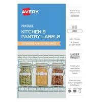 Avery Kitchen & Pantry Labels Textured White AE9009 (Inkjet/Laser) 20Up 66X15mm 80Pk