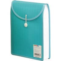Foldermate Barkode Top Load Attache File - #5026B A4 Elastic & Button Close Aqua