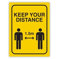 Durus Social Distance Wall Sign Black and Yellow 225x300mm